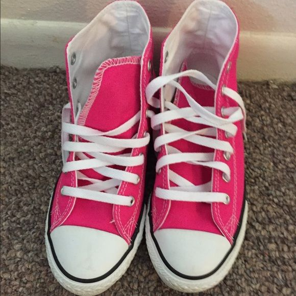d552329d7ad Converse High Tops Hot Pink Hot Pink! Size 3 youth (fits about a size 5 6  women s).    worn once    Converse Shoes