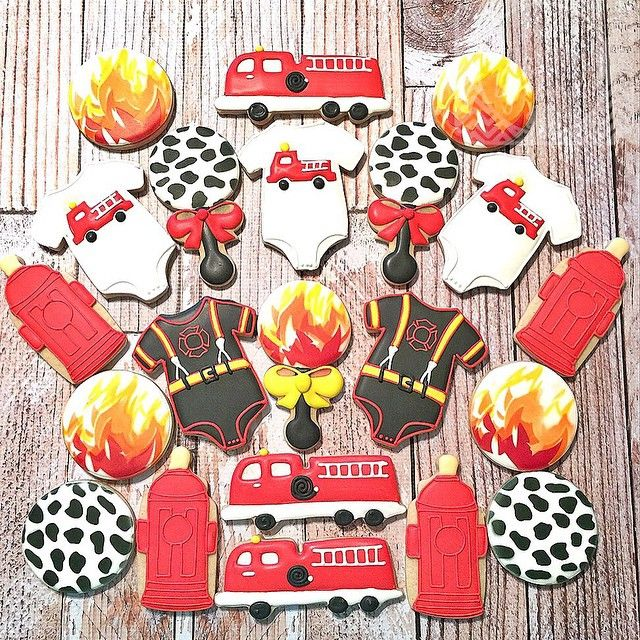 Exceptional Firefighter Themed Baby Shower Cookies. Complete With Fire Hydrant Baby  Bottle! #firefightercookies #