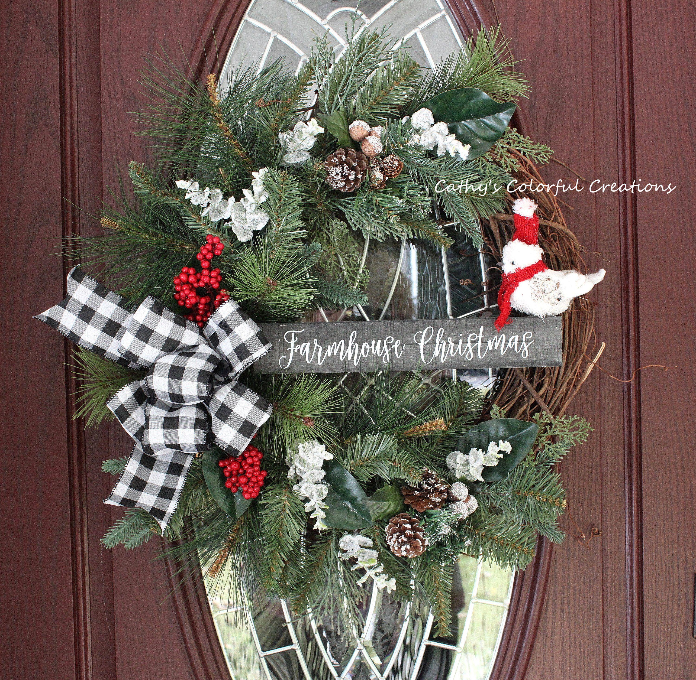 Clearance Christmas Wreath Farmhouse Christmas Wreath Etsy