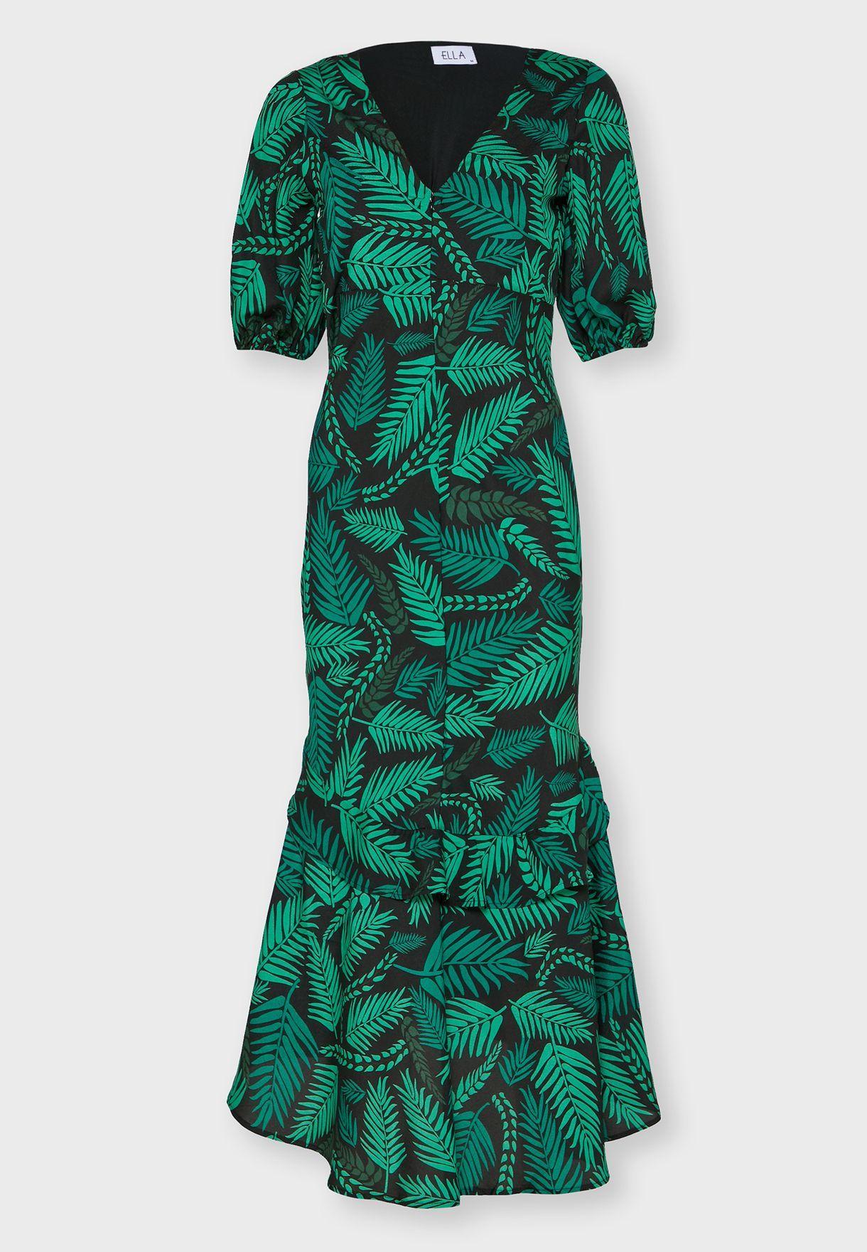تسوق فستان مطبع باكمام منفوشة ماركة ايلا لون طبعات في في الخليج وفي جميع انحاء العالم Clt2020465 Plunge Neck Midi Dress Ella Print Wrap Dress