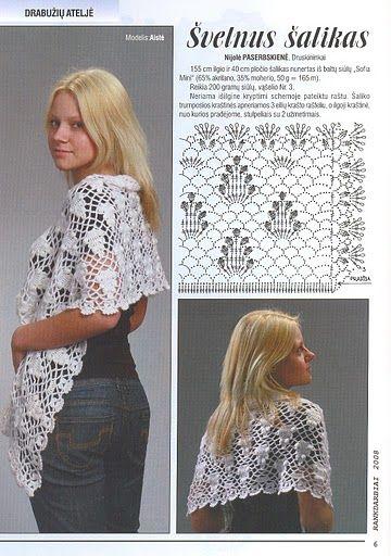 Chal con Piñas Blanco Patron - Patrones Crochet | Diagram Pattern ...