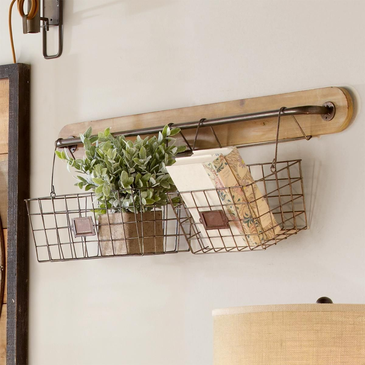 Farmhouse industrial hanging baskets wire baskets room