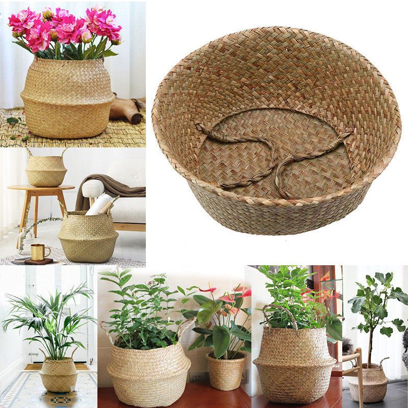 Foldable Sea Grass Basket Handmade Woven Laundry Holder Box Flowerpot Container