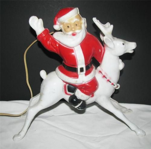 Vintage 1950 S Plastic Light Up Santa
