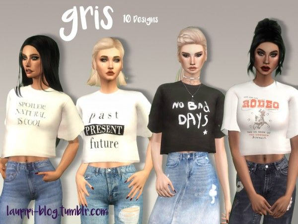 The Sims Resource: Gris T-Shirt by Laupipi • Sims 4 Downloads | Sims