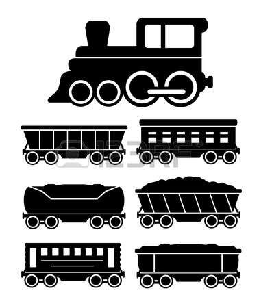 Set Black Icons With Train Cars For Travel Or Cargo Delivery Photo Train Silhouette Train Wall Art Train