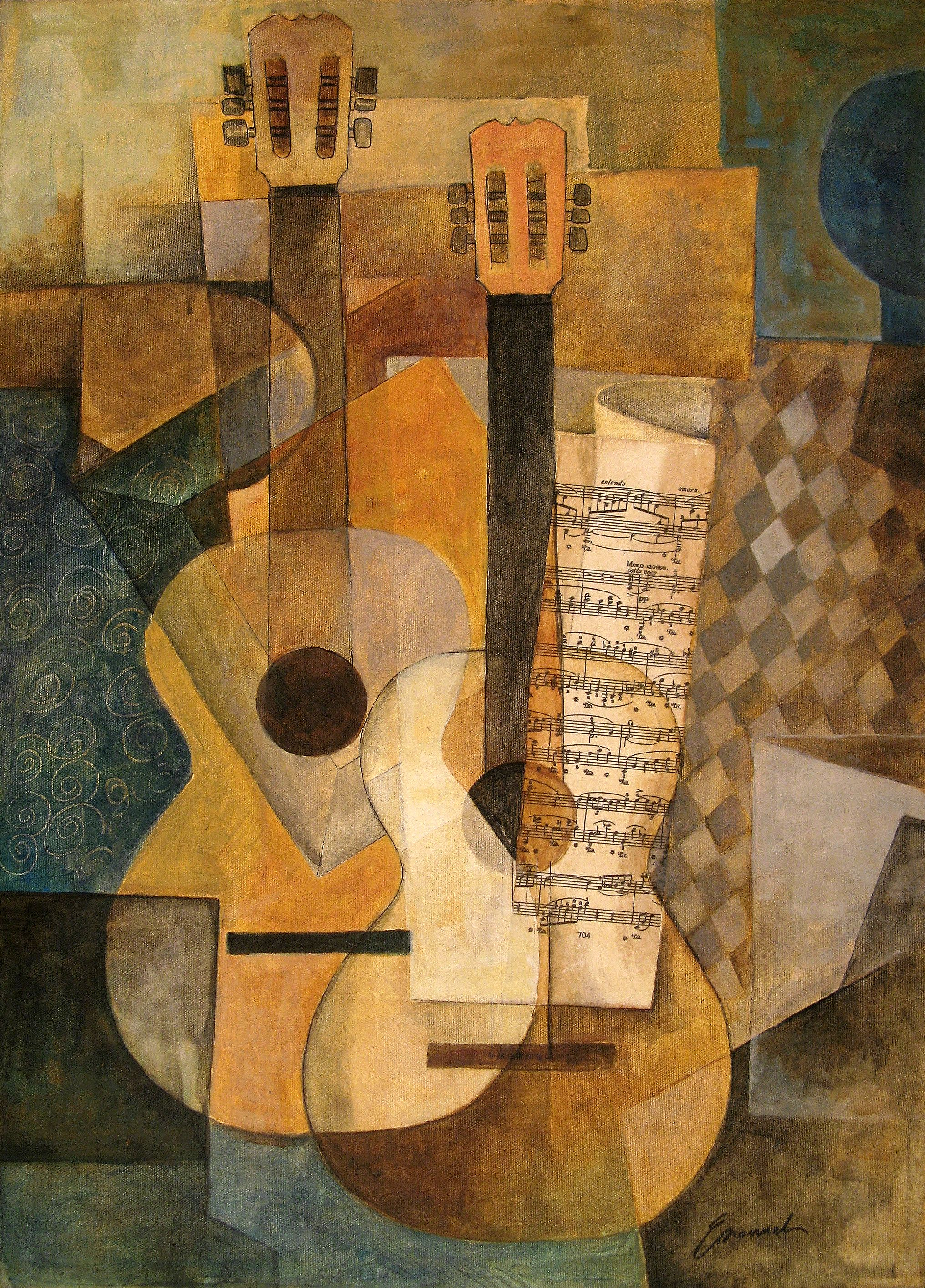 la guitarra original cubist painting by emanuel ologeanu kubismus abstrakte kunst und textur. Black Bedroom Furniture Sets. Home Design Ideas