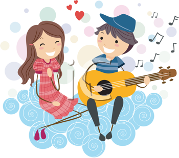 Iclipart Com Royalty Free Clipart Image Of A Boy Serenading A Girl Illustration Boy Cute Couple Cartoon Images Cute Couple Cartoon