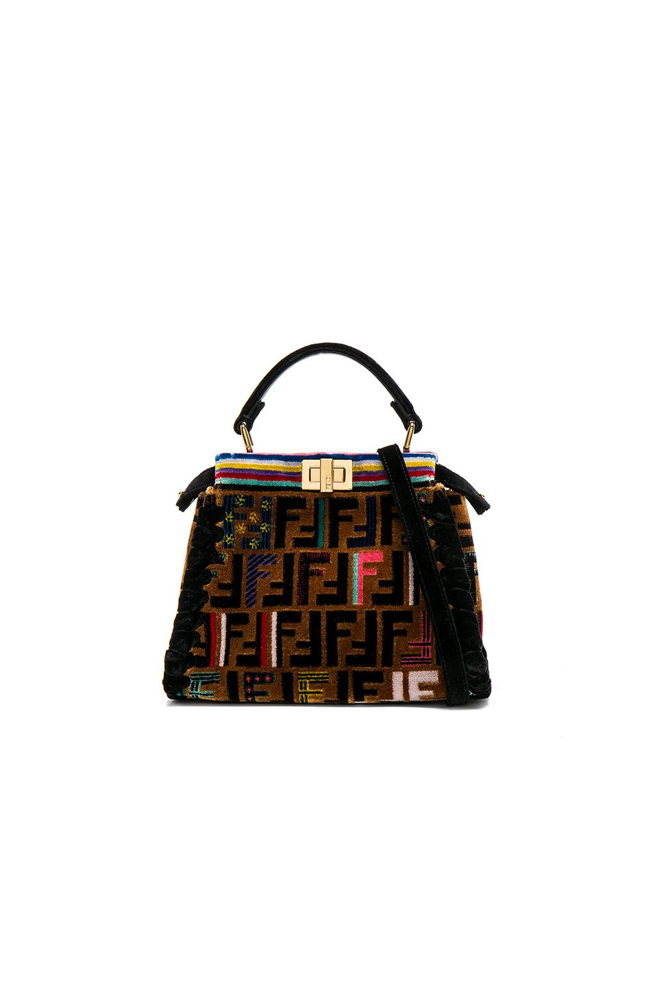 a2d2167fc097 Fendi FF Velvet Whipstitch Mini Peekaboo in Multicolor   Black ...