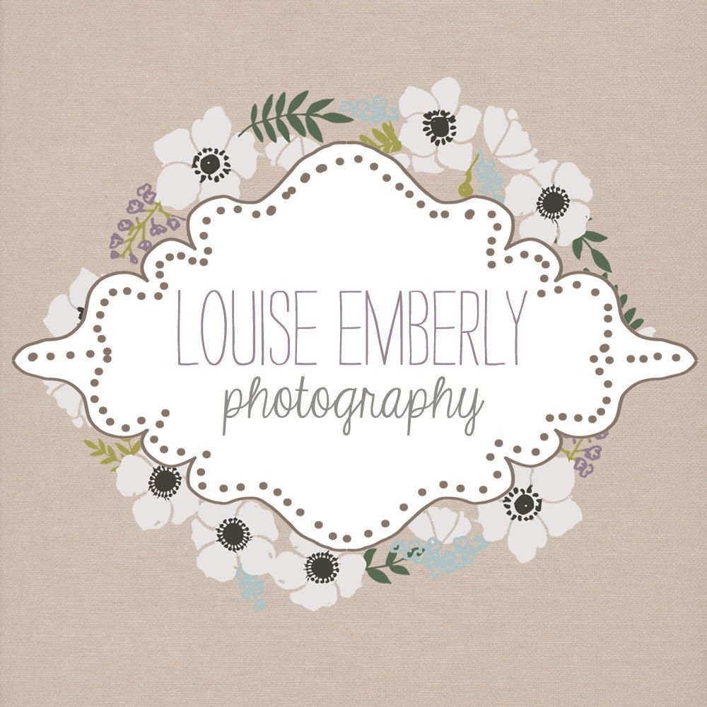 One of a kind pre-made custom Logo, floral, vintage hand drawn ...