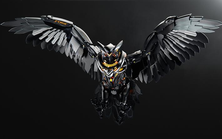 Download Wallpapers Strix Owl 4k Art Birds 3d Wallpapers