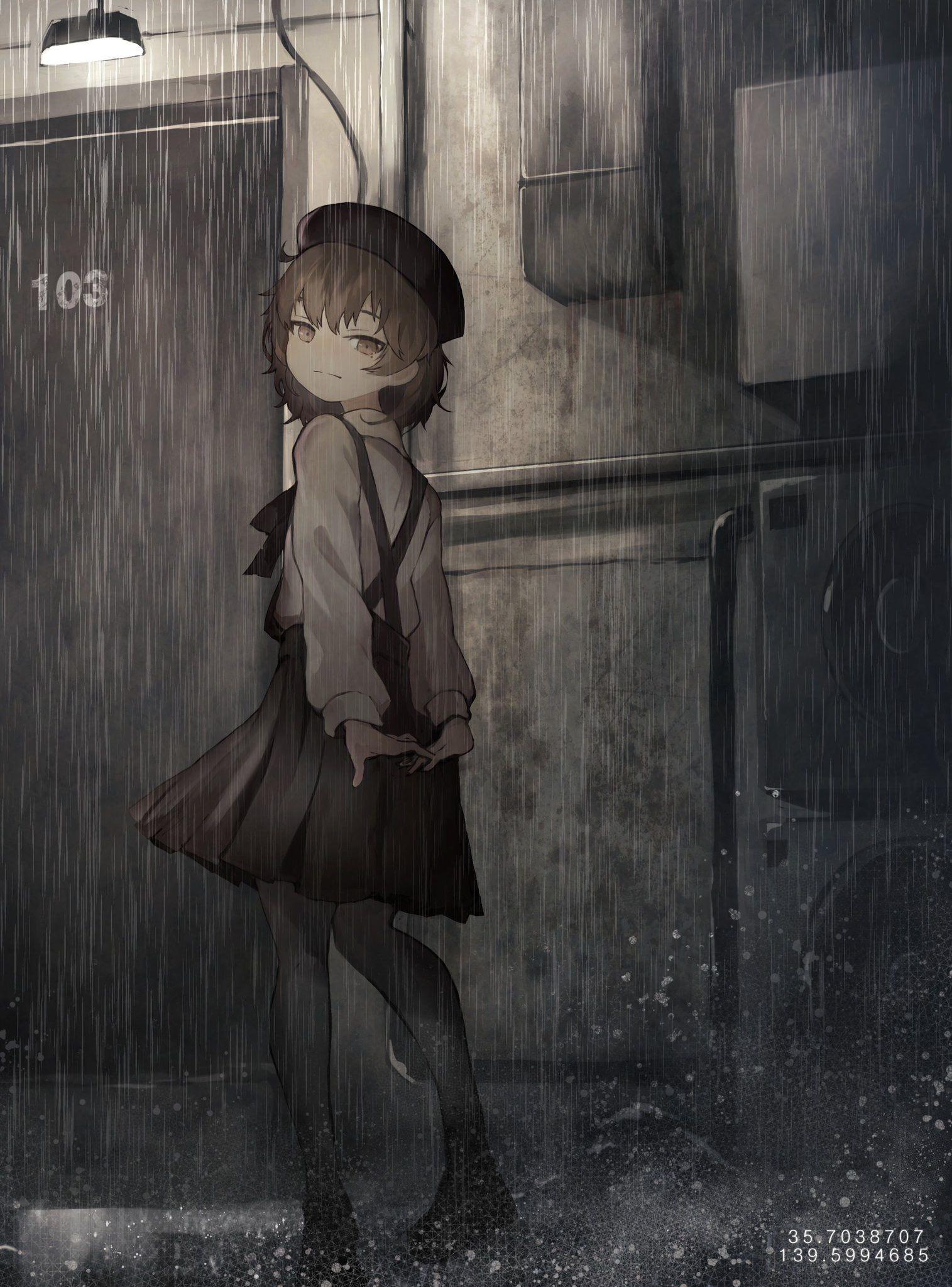 anime, #anime girls, #Hatoba tsugu, #Virtual Youtuber, #rain