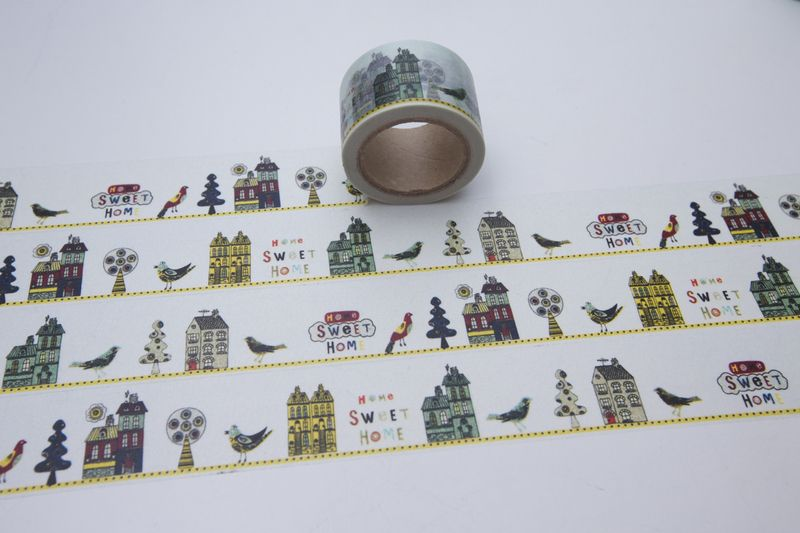 Bastelbedarf - Tape HOME SWEET HOME Haus Vogel Baum Zuhause bunt  - ein Designerstück von bespokedesign bei DaWanda