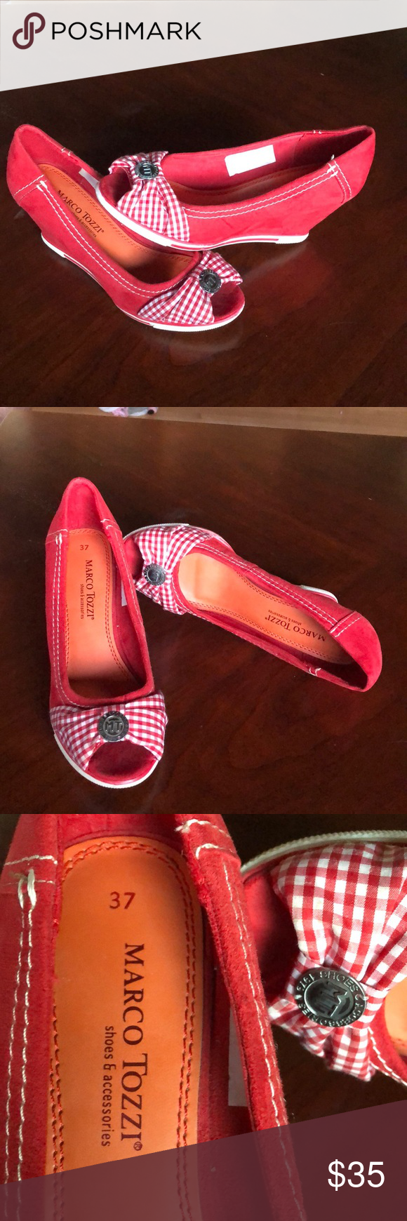 6ff92655c426 Marco Tozzi 37 Euro red white suede open toe wedge Great condition. Shoes  Wedges