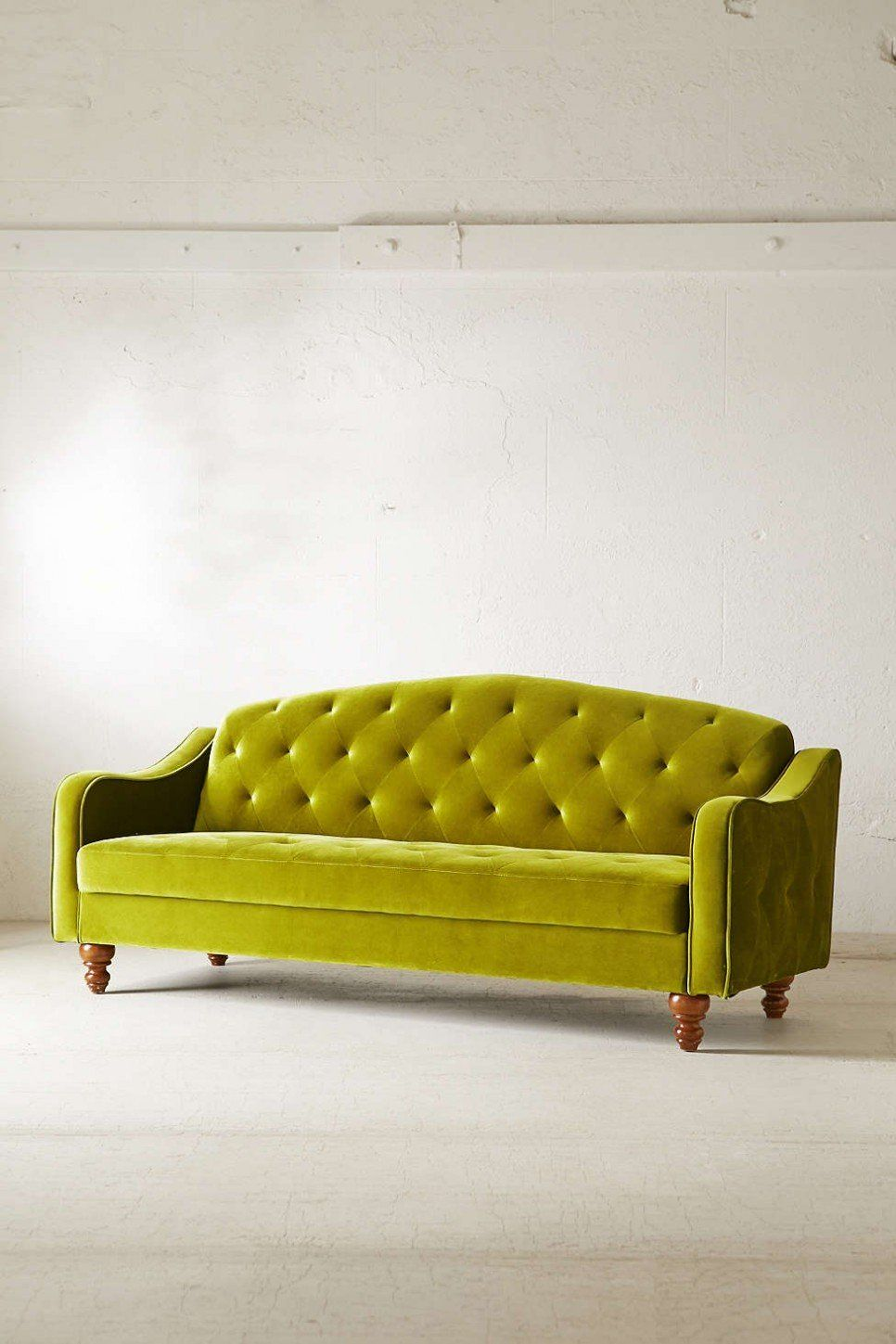 Best Furniture Vintage Green Velvet Tufted Sofa With Brown 400 x 300