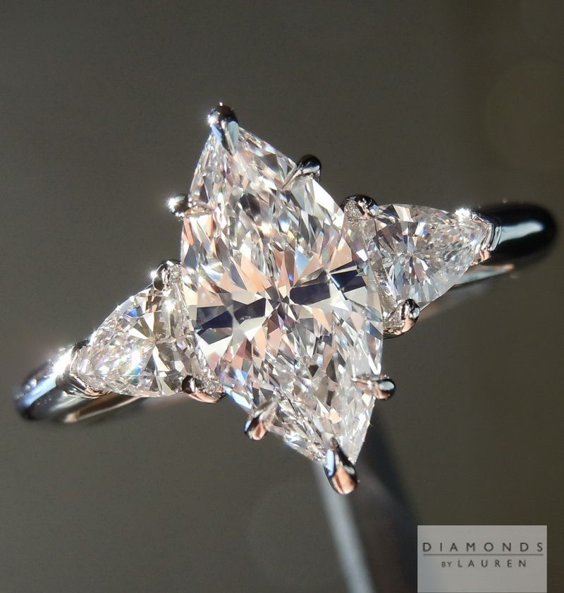marquise diamond ring with shield side stones | Ring inspirations ...