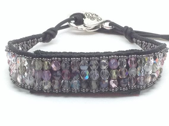 Finally a solution for the fashionable Fitbit Flex wearers! This striking Black and subtle hints of pink and grey bohemian chic leather wrap bracelet