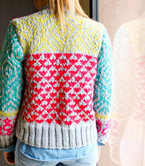 INGRID hand knit cardigan fair isle high fashion by ovejanegra ...