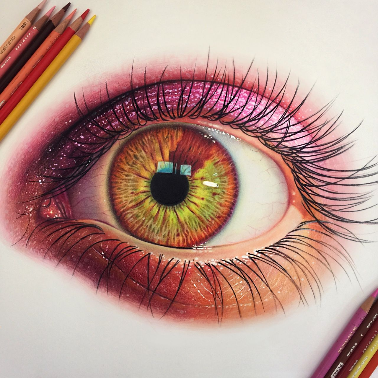 Morgan Davidson Illustration Colored Pencil Eye Study 7 Hours On Bristol Color Pencil Drawing Cool Eye Drawings Realistic Pencil Drawings