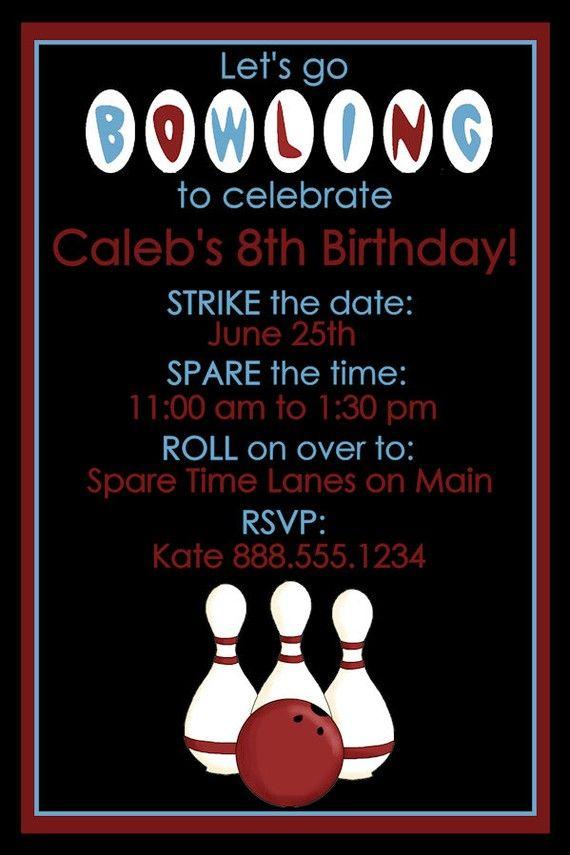 Bowling Birthday Party Invitation Retro Design Digital YOU PRINT - bowling invitation