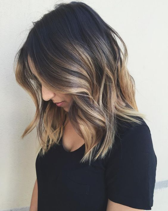 Cuts Lob Cheveux , bALAYAGE Faits saillants avec Noir, Blond