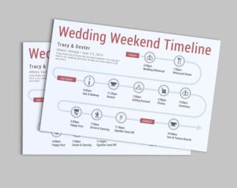 wedding weekend or day of the wedding timeline customizable printable pdf