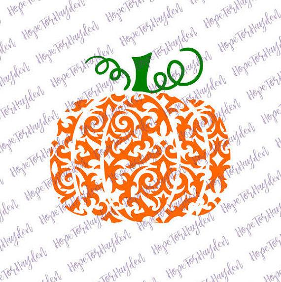Swirly Pumpkin SVG Swirl Pumpkin SVG Damask Pumpkin