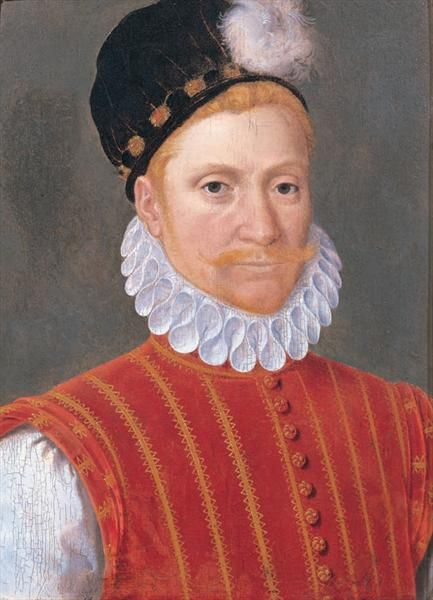 Sir William Kirkcaldy of the Grange, as painted by Jean Clouet, I would guess late 1570's early 1580's