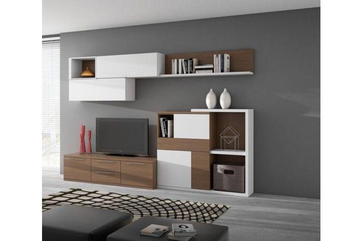 Composicion salon en color blanco de nogal l 13439852 - Muebles capsir ...
