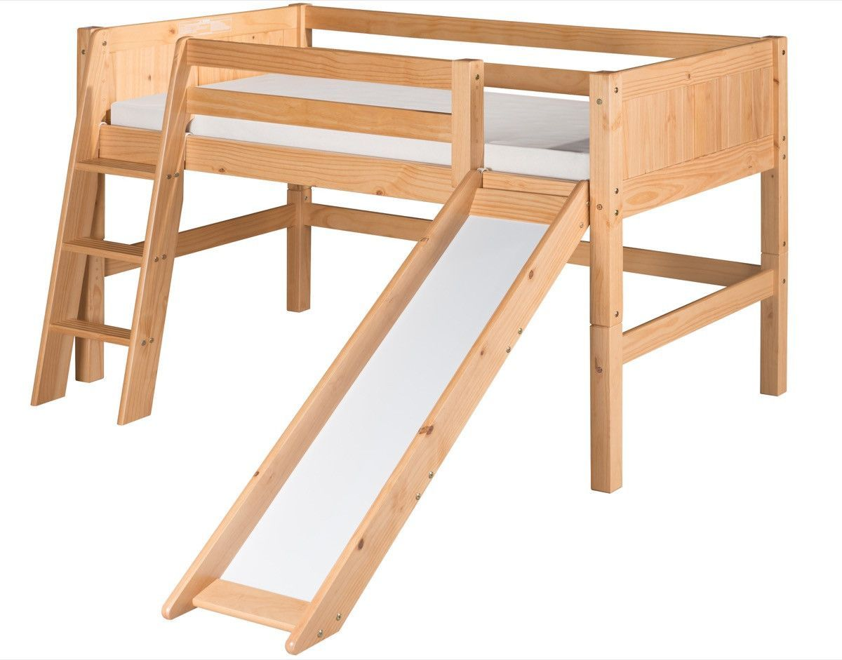Low loft bed twin  Camaflexi Low Loft Bed with Slide  Panel Headboard  Natural Finish