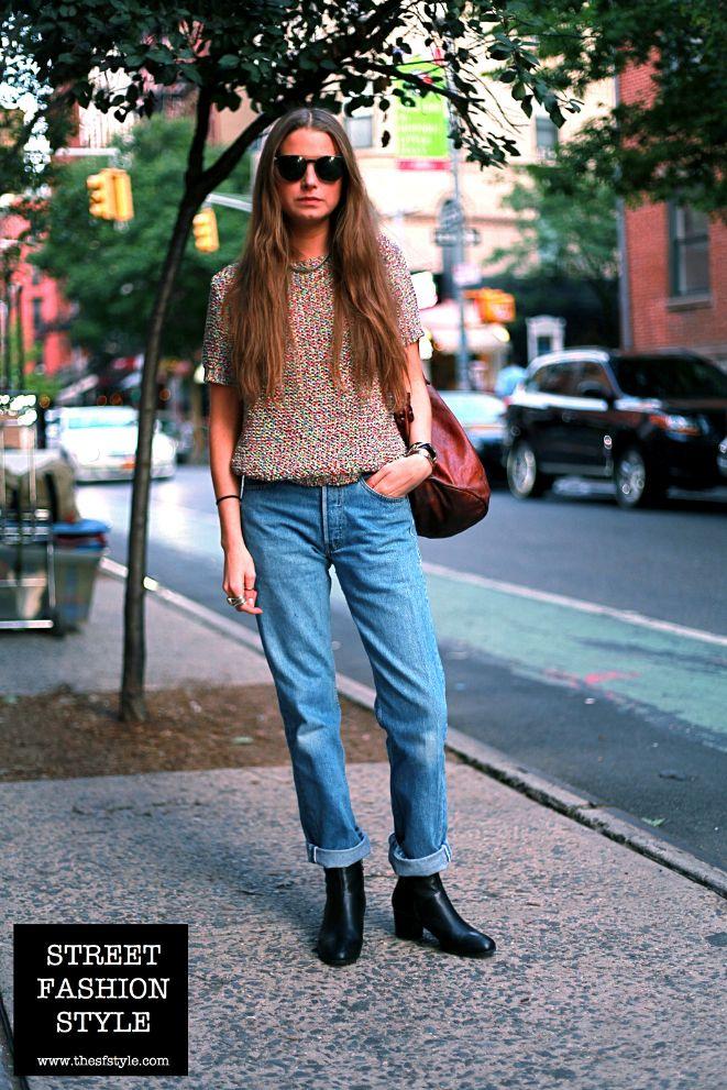 Good Hair Short Sleeve Knit Top Boyfriend Jeans Cuban Heel Chelsea Boots Leather Bucket Bag New York Boyfriend Jeans Chelsea Boots Style Knit Top