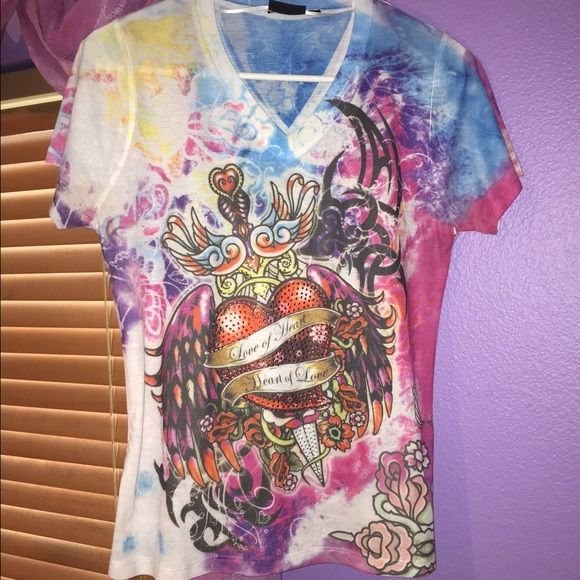 Ed Hardy dupe shirt purchased in EUROPE! Looks just like an Ed Hardy shirt, I bought it in Europe when I was back home. Fun and vibrant colors and great condition :) all diamonds are still intact! Size 38 which is a Small/Medium in American sizes! Ed Hardy Tops