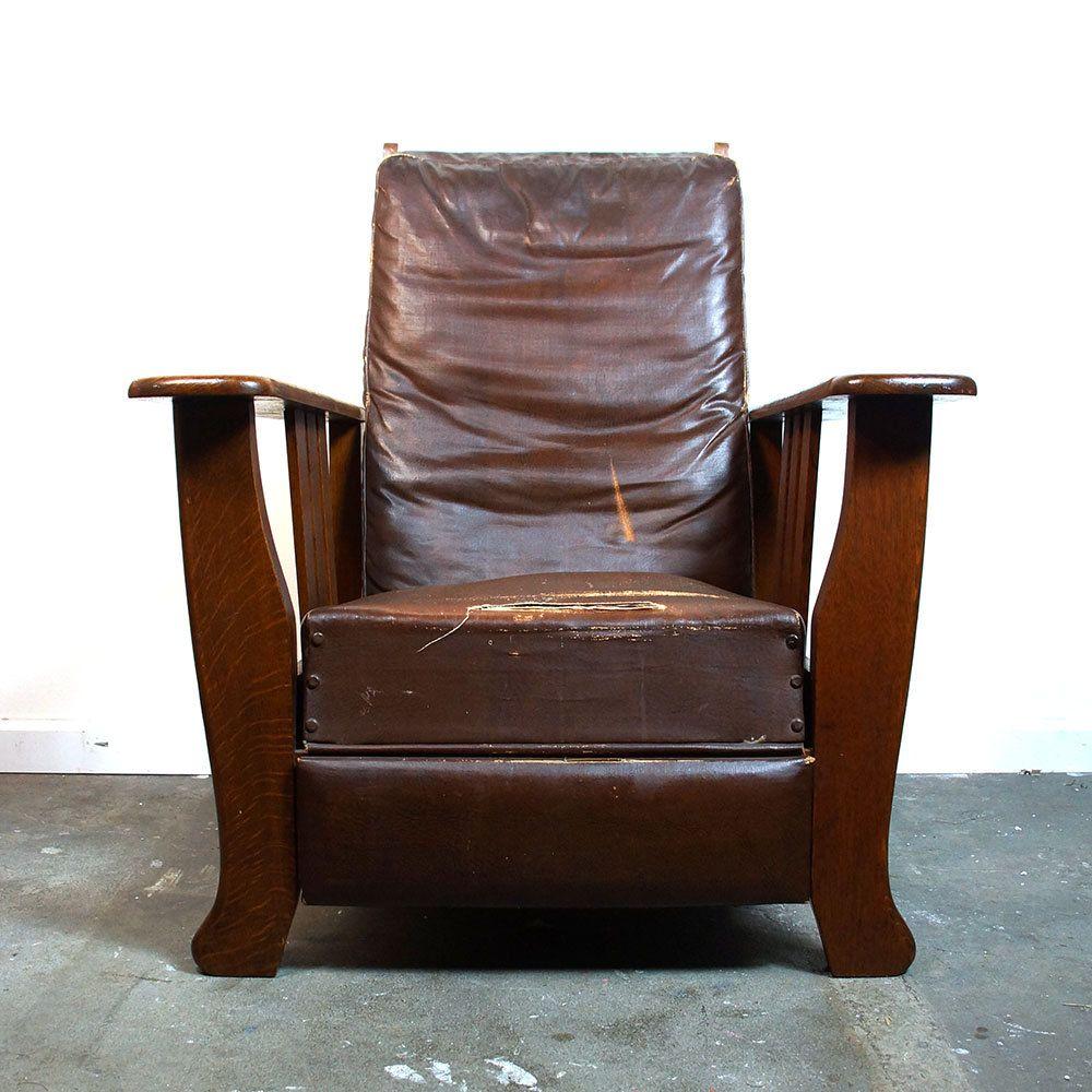 Antique mission oak morris chair by hubbard eldredge