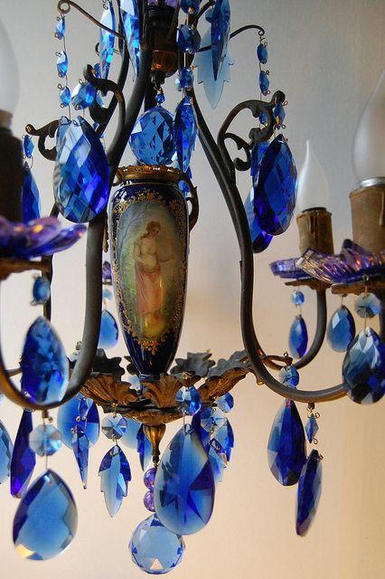 lustre cristal azul luster chandeliers and house. Black Bedroom Furniture Sets. Home Design Ideas