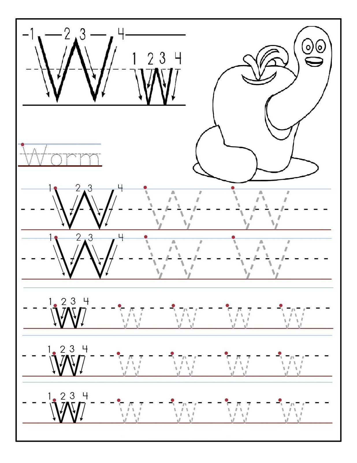 Preschool Printables Letter W For Students