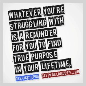Whatever you're struggling with is a reminder for you to find true purpose in your lifetime. ~ Deepak Chopra