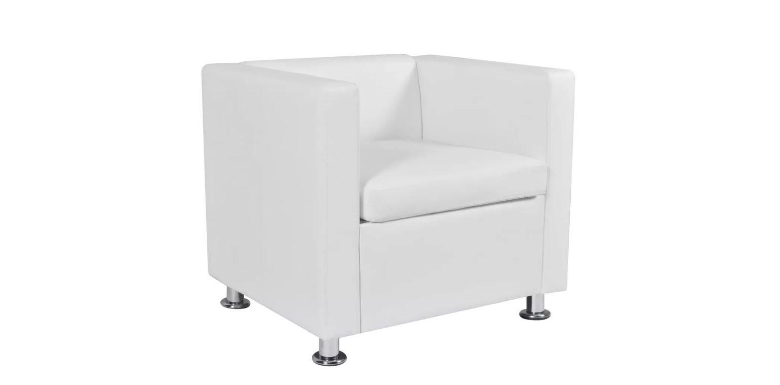 Amazing Modern Cube Armchair Artificial Leather Upholstery White Machost Co Dining Chair Design Ideas Machostcouk