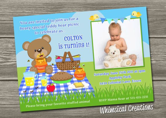 Teddy Bear Picnic Birthday Invitation Digital File BOY GIRL – Teddy Bears Picnic Party Invitations