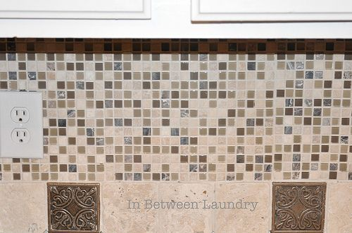 In Between Laundry Tutorial How To Install A Mosaic Tile Backsplash Diy Tile Backsplash Mosaic Tile Backsplash Diy Kitchen Backsplash