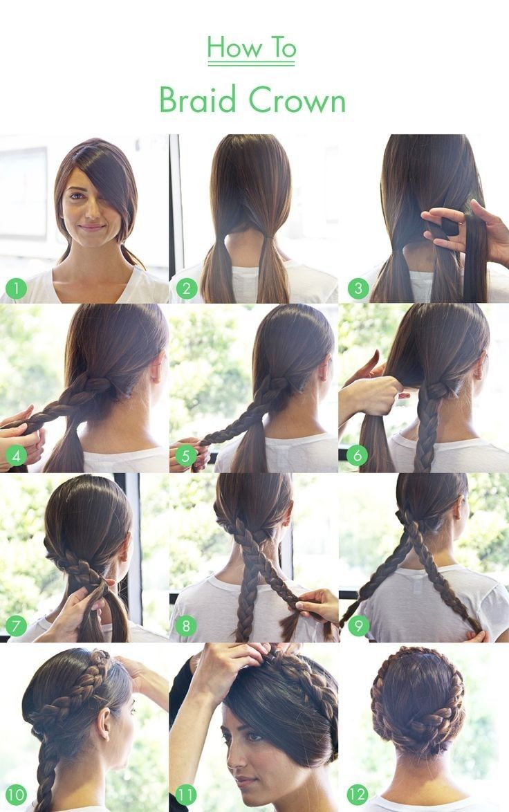 Braid Crown Tutorial For Long Hair Braided Crown Hairstyles Hair Styles Long Hair Styles