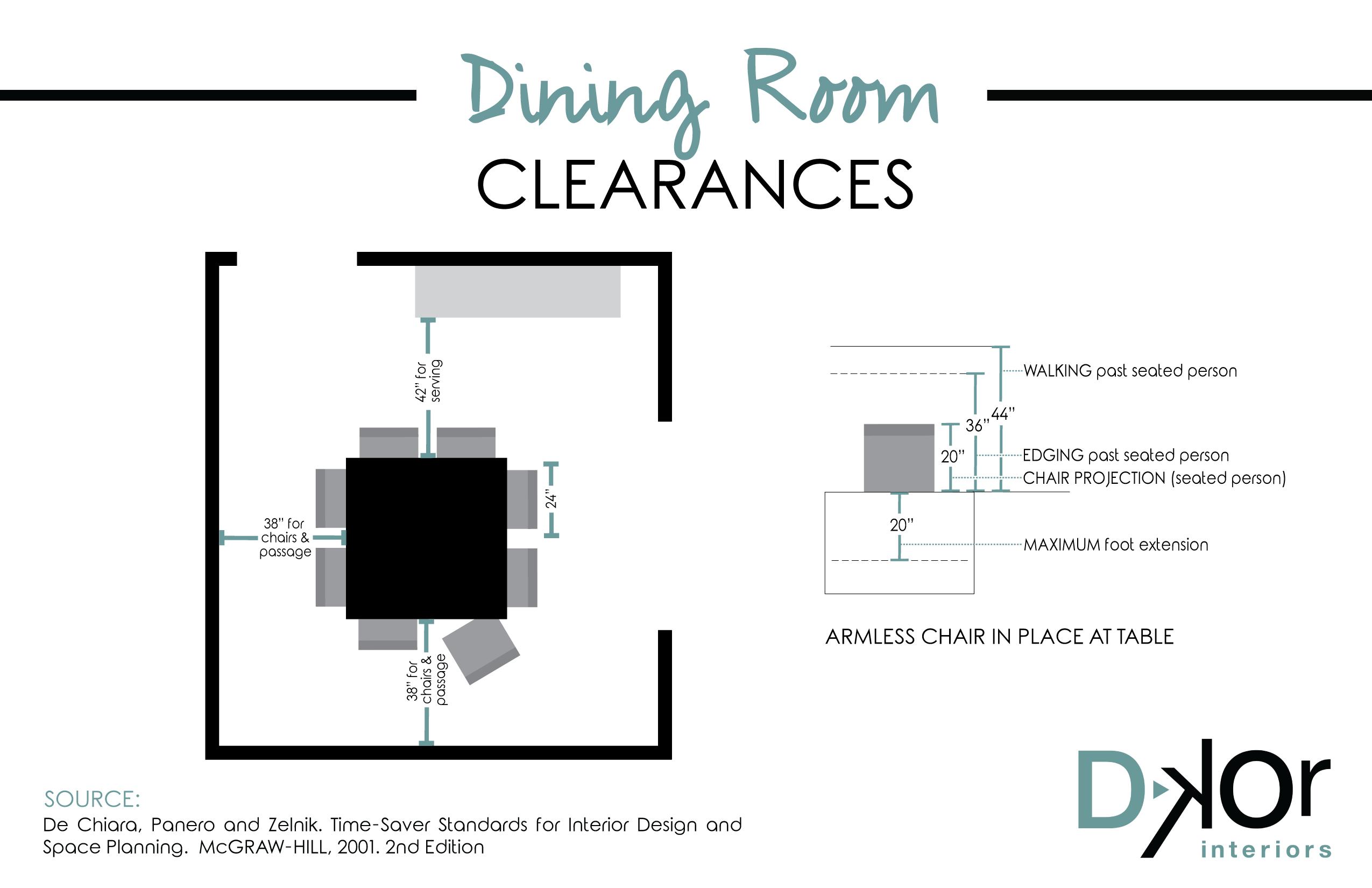 Dining room Clearances -  Residential Interior Design #clearances #diningroom #idealmeasurements #interiordesign │ Miami Residential Interior Design Firm www.dkorinteriors.com