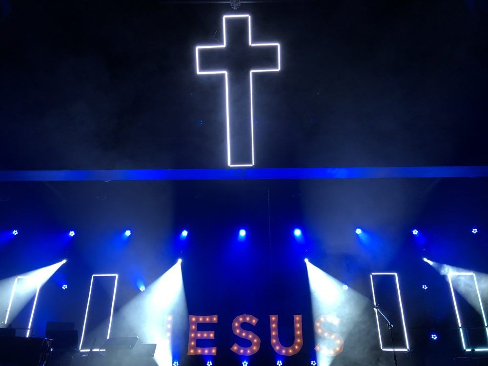 Cross In The Sky Church Stage Design Ideas Stage Set Design Church Stage Design Church Interior Design