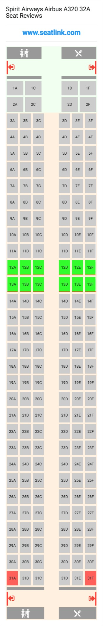 Spirit Airways Airbus A320 32a 320 Seat Map Delta Airlines United Airlines Alaska Airlines