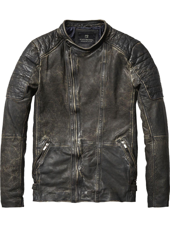 Bikerjacke Aus Gewaschenem Leder Lederjacken Herrenbekleidung