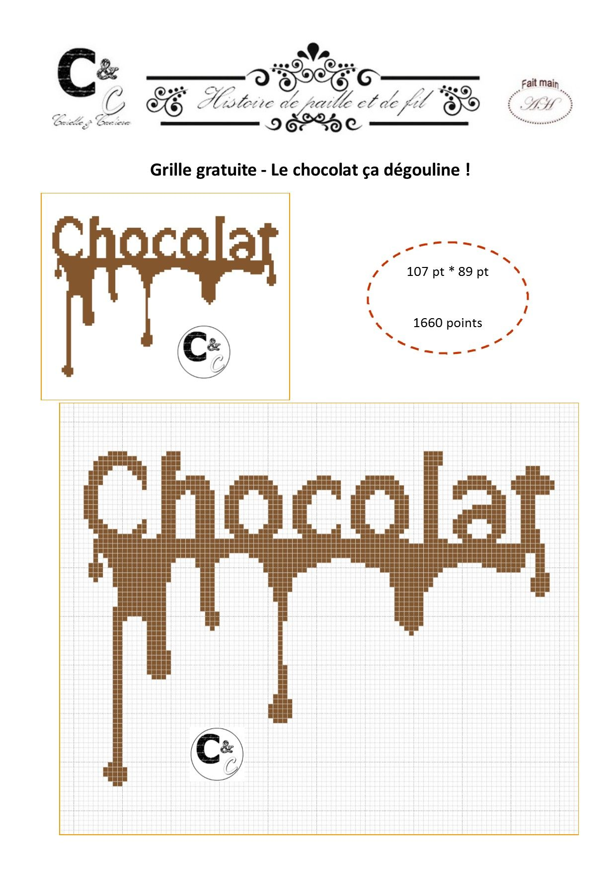Grille gratuite - Le chocolat ça dégouline | Point de croix facile, Point de croix et Modèles de ...