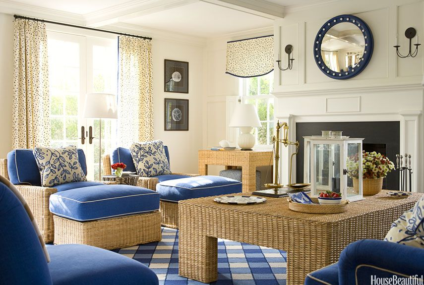 Blue and Wicker Furniture
