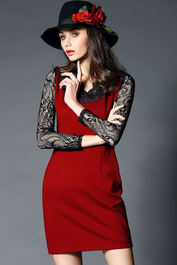 ae8553dc0a shop for European Style Women Elegant Lace Patchwork Slim Dress and more  for everyday cheap prices at Lalalilo.com - Your Online Womens Clothes Store