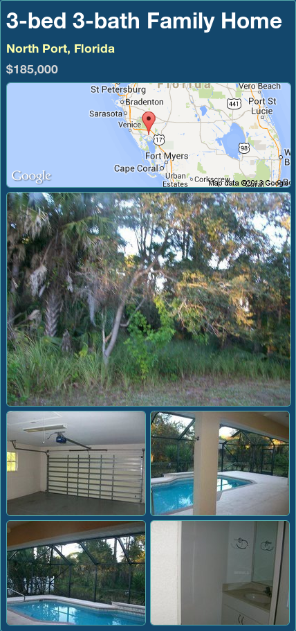 3-bed 3-bath Family Home in North Port, Florida ►$185,000 #PropertyForSale #RealEstate #Florida http://florida-magic.com/properties/92715-family-home-for-sale-in-north-port-florida-with-3-bedroom-3-bathroom