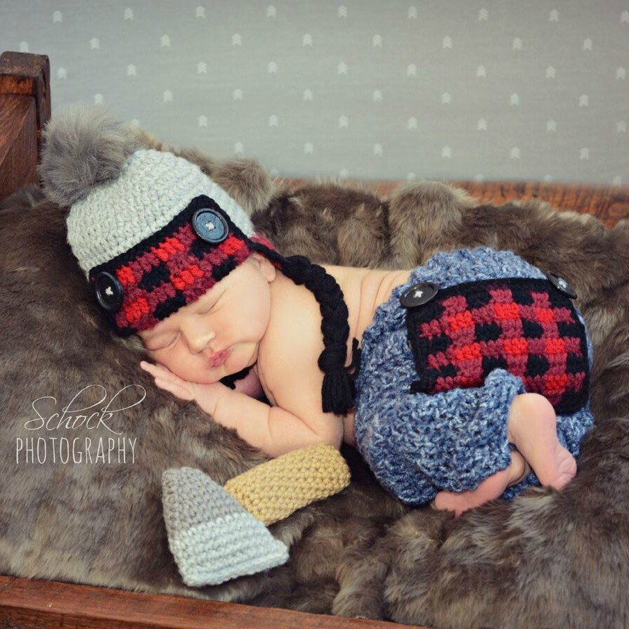 Crochet Baby Lumberjack Plaid Hat Beanie Pants Ax Set Newborn Infant Baby  Photography Photo Prop Handmade Baby Shower Gift Present 55180023d782