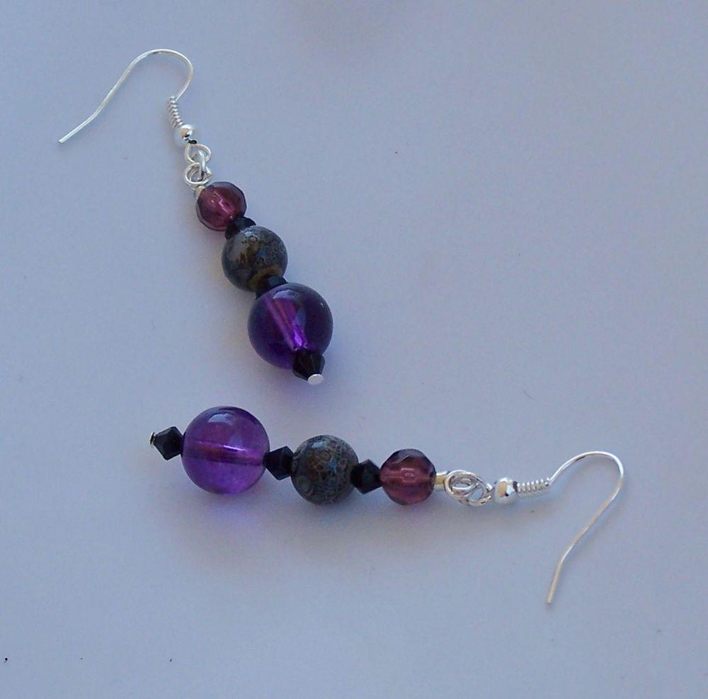 Earrings purple grey burgundy beaded dangle drop jewelry goth girly